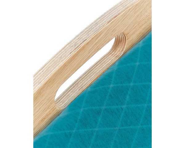 Detail of the ergonomic wooden baby bouncer Babywelle petrol